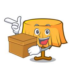 With box table cloth character cartoon vector