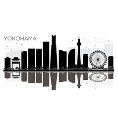 Yokohama city skyline black and white silhouette vector