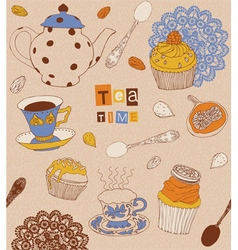 Cups and cakes vector image vector image