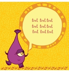 Funny purple monster with an inscription vector image