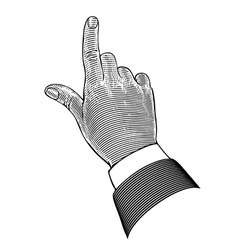 Hand with pointing finger in engraving style vector image