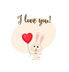 i love you card with bunny holding heart shaped vector image vector image