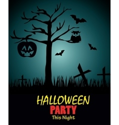 poster halloween party with pumpkin design vector image vector image