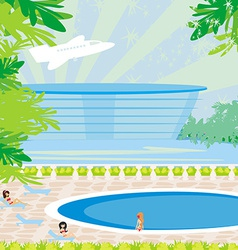 Relaxing tropical swimming pool vector image vector image
