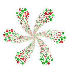 Sad and glad smiley swirl abstract flower vector
