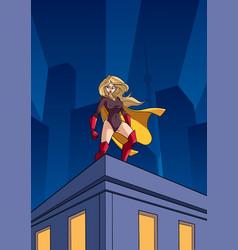 superheroine roof watch vector image vector image