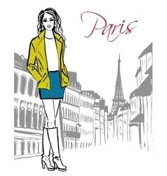 woman standing in Paris vector image vector image