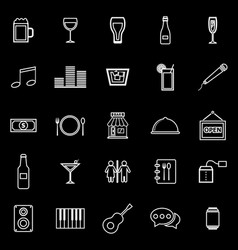 bar line icons on black background vector image