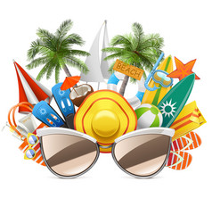 beach concept with sunglasses vector image