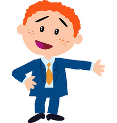 Character boy dressed like a businessman showing vector