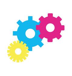 color gears symbol process industry vector image vector image