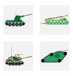 monochrome ikon set with military equipment tanks vector image