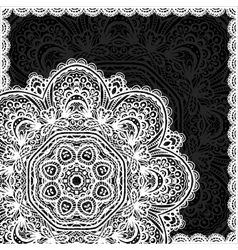 Ornate white and black lacy napkin vector image vector image