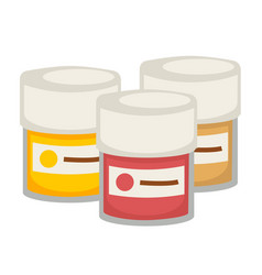 Small containers with gouache paint isolated vector