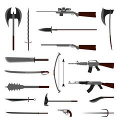 18 weapon icon medieval and modern vector image vector image