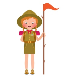 a smiling child girl scout vector image vector image
