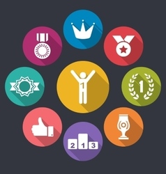 Flat Icons Group of Awards and Trophy Signs Long vector image