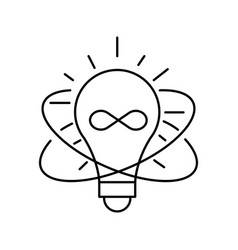 lamp line icon on white background idea symbol vector image vector image