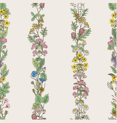 Seamless pattern of tracery of hand drawn herbs vector