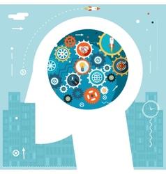 Businessman Head Idea Generation Gear Wheel Icons vector image vector image