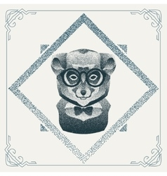 Halftone hipster lemur with black Dots vector image vector image