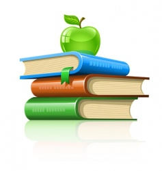pile book with green apple vector image