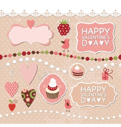 Set of Valentines Day elements vector image