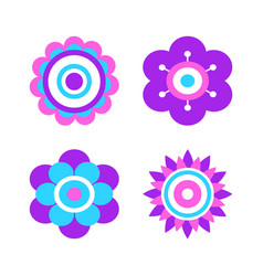 abstract flowers made of geometric figures and dot vector image
