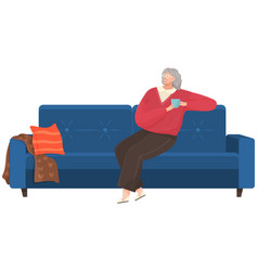 Adult woman sitting on couch at home drinking vector