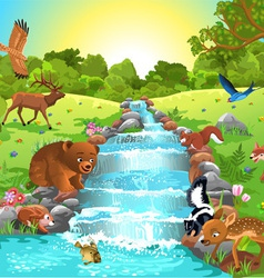 Animals at the river vector