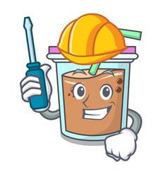 Automotive bubble tea mascot cartoon vector