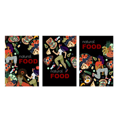 banners or cards with healthy food and sport woman vector image