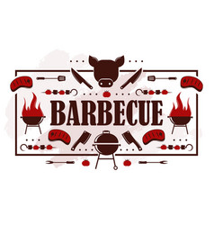 barbecue icons on typography poster vector image