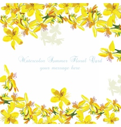 Beautiful Watercolor Yellow flowers card vector