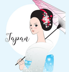 Beautyful japanese woman wear kimono vector