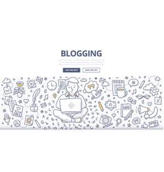 Blogging doodle concept vector