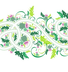 Border with celtic ornament and flowers thistle vector
