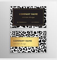 business card trendy leopard pattern wild animals vector image