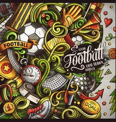 Cartoon doodles soccer frame vector