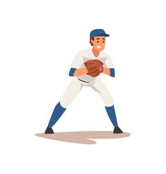 Catcher waiting for ball baseball player vector
