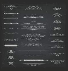 Chalkboard ornaments and decorations set vector