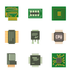 Chip circuit icons set cartoon style vector