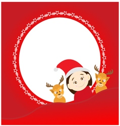 Christmas background with santa claus and deers vector image