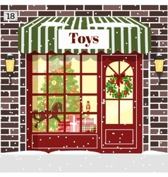 Christmas Toy shop toy store building facade vector image