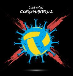 Coronavirus sign with volleyball ball vector
