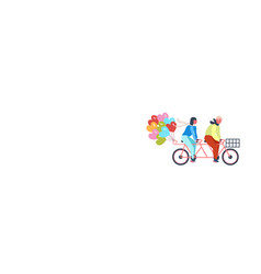 couple riding tandem bicycle with heart shapes air vector image