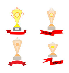 Cup and ribbon reward set vector