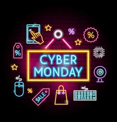 Cyber monday neon concept vector