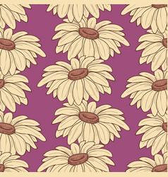 Daisy stems seamless pattern over purple vector