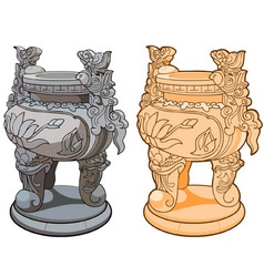 decorative vase with legs in the Asian style vector image